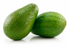 Two Green Ripe Avocado Isolated on White Royalty Free Stock Photo