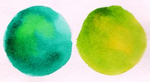 Two green round circle abstract watercolor. On white background royalty free stock photos
