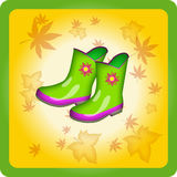 Two green rubber boots Royalty Free Stock Photos