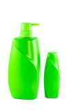 Two green shampoo bottle on white background Stock Image