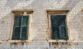 Two Green Shutters Stock Photography