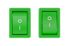 Two green  switch Royalty Free Stock Image