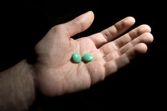 Two green tablets Royalty Free Stock Images