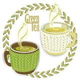Two green tea cups with knit sleeve vector illustration