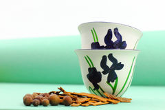 Two Green-Themed Arabic Coffee Cups Royalty Free Stock Photography