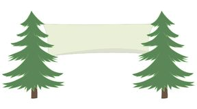 Two green vector pines and nner stretched between them isolated on white background. Two green vector pine trees and a banner stretched between them isolated on Royalty Free Stock Image