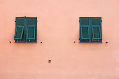 Two green windows Royalty Free Stock Image