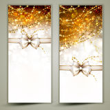 Two Greeting card. Two gold Christmas greeting cards with bow Royalty Free Stock Photo
