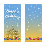 Two greeting card for the winter holidays. Below a number of bright Christmas tree balls, tree silhouette with snowflakes and star Stock Photo