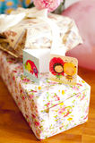 Two greeting cards on presents Stock Images
