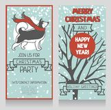 Two greeting cards for winter holidays party with cute smiling husky and snow. Vector illustration Stock Image