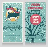 Two greeting cards for winter holidays party with cute smiling husky and snow. Vector illustration Stock Photos