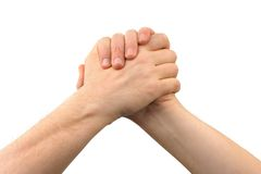 Two greeting hands. Isolated on white background Royalty Free Stock Photography
