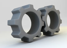 Two grey cogwheels. Two gray pinions 3d rendered image Royalty Free Stock Images