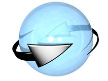 Two grey cyclic arrows  turning around a sphere Stock Photo