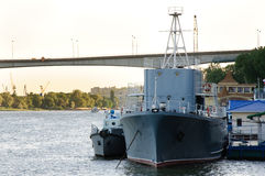 Two grey ships next moorage. On Rostov on Don river Stock Photo