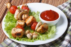 Two grilled chicken kebab with mushrooms on a plate Stock Photography