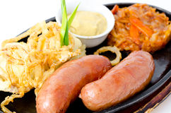 Two grilled frankfurters Royalty Free Stock Image