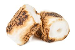 Two grilled marshmallow isolated. On white stock image