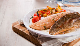 Two grilled salmon trout fillets Stock Images