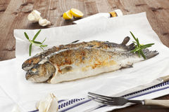Two grilled trouts on wooden table. Two grilled trouts with lemon pieces, garlic on white baking paper on kitchen towel on wooden table Royalty Free Stock Images