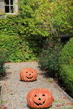 Two grinning Jack-O-Lanterns on pathway Royalty Free Stock Photos
