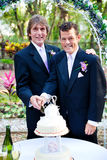 Two Grooms Cutting Cake at Their Wedding Royalty Free Stock Image
