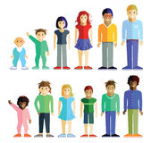 Two groups of children. Illustration of two groups of children, boys and girls, in colorful clothes, ranging in age from babies to teenagers, white background Stock Photo