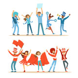 Two Groups Of Football Sports Fans Supporting Teams In Red And Blue Costumes Shouting And Cheering At The Stadium. People Sportive Devotees Making Noise Vector Royalty Free Stock Photo