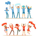 Two Groups Of Football Sports Fans Supporting Teams In Red And Blue Outfits Shouting And Cheering At The Stadium. People Sportive Devotees Making Noise Vector vector illustration