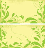 Two grunge backgrounds with ornamental leaves. Royalty Free Stock Images