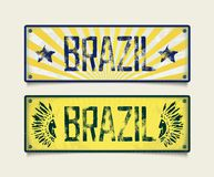 Two grunge car plates BRAZIL Stock Photo