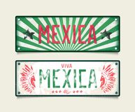 Two grunge car plates Mexica Royalty Free Stock Images