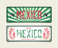 Two grunge car plates Viva Mexica Stock Image