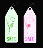 Two grunge florals sale shop tags. Royalty Free Stock Photography