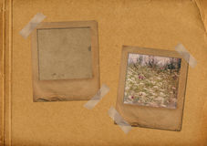 Two grunge slides in the old photoalbum Royalty Free Stock Photo