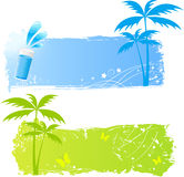 Two grungy palms banners. Palm grungy backgrounds in green and blue colors Royalty Free Stock Images