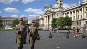 Two guards march. In the Kossuth square in Budapest stock video footage