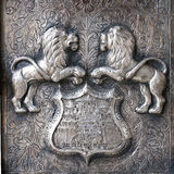 Two guarging lions at gate stock image