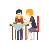 Two Guests Having Lunch At Restaurant Hotel Themed Primitive Cartoon Illustration. Part Of Inn Clients And Employees Collection Of Situations Vector Flat royalty free illustration