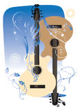 Two guitars. Musical background with two guitars Stock Images