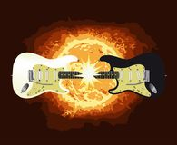 Two Guitars With Burning Sun Background. One black and one white electric guitar meeting together at the neck and creating a large flash Royalty Free Stock Photography