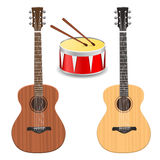 Two guitars with drum Royalty Free Stock Image