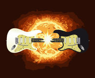 Two Guitars. One black and one white electric guitar meeting together at the neck and creating a large flash Royalty Free Stock Photos