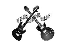 Two guitars ready for the concert. A background with two guitars what symbolizes the beginnings of rock music and not only, they also symbolize a good music Royalty Free Stock Photo