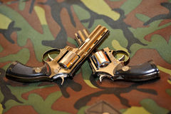 Two guns. Against the military Stock Photography