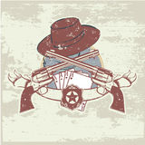 Two guns and  hat. Vector insignia and banner with  two guns and  hat. Vector illustration Royalty Free Stock Images