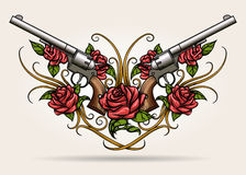 Two Guns and Rose flowers Drawn in  Tattoo Style Stock Images