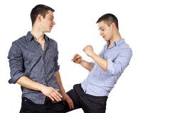 Two guys advertise clothes isolated Royalty Free Stock Photography