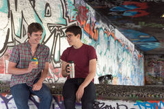 Two Guys Coffee Chat Guys Coffee Chat Stock Photography